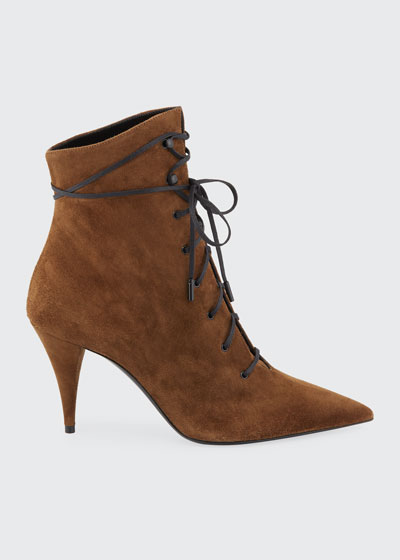 Kiki Suede Lace-Up Victorian Booties
