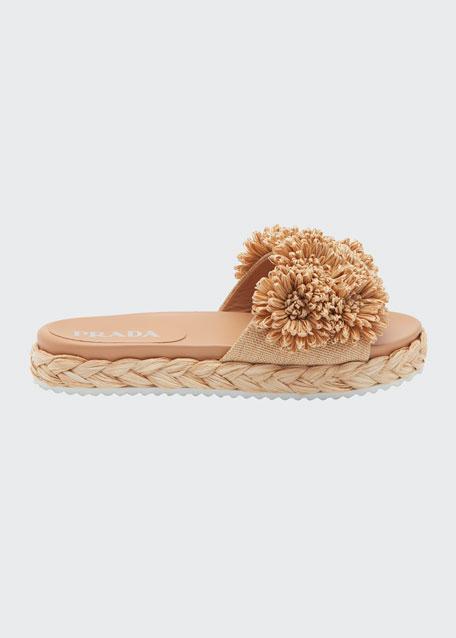 Floral Raffia Slide Sandals