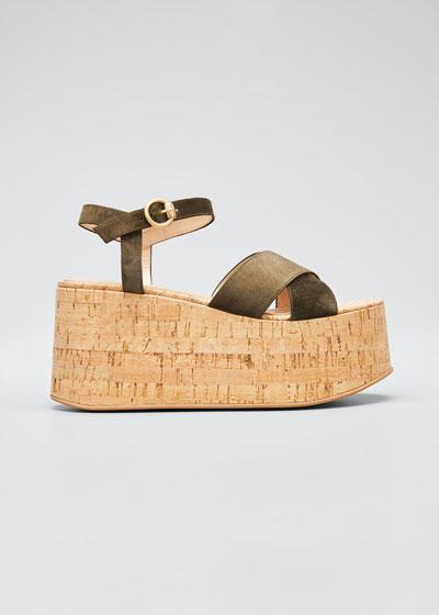 20mm Cork Flatform with Suede Sandals