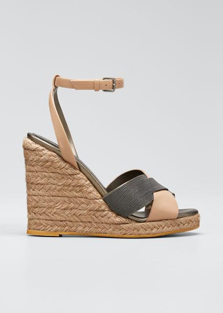 Monili Leather Wedge Espadrille Sandals