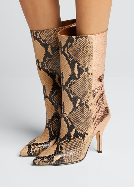 Mixxed Snake-Embossed Leather Stiletto Booties