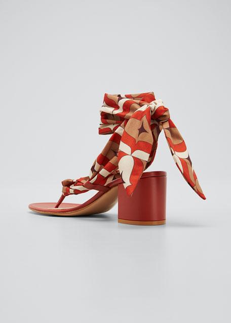 Printed Scarf Ankle-Tie Thong Sandals