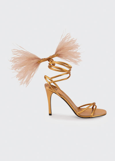 100mm Ostrich Feather Ankle-Wrap Stiletto Sandals