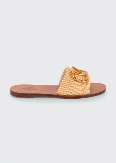VLogo Flat Raffia Slide Sandals