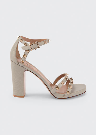 105mm Rockstud Leather Chunky-Heel Sandals