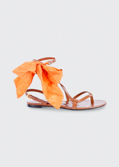 Silk Bow Leather Flat Sandals