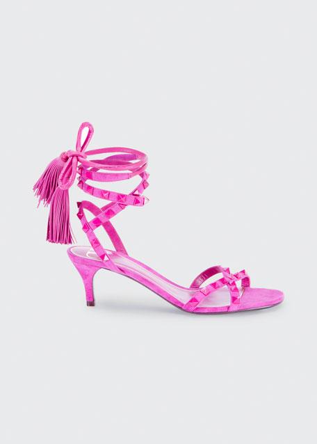 Suede Rockstud Ankle-Wrap Tassel Sandals