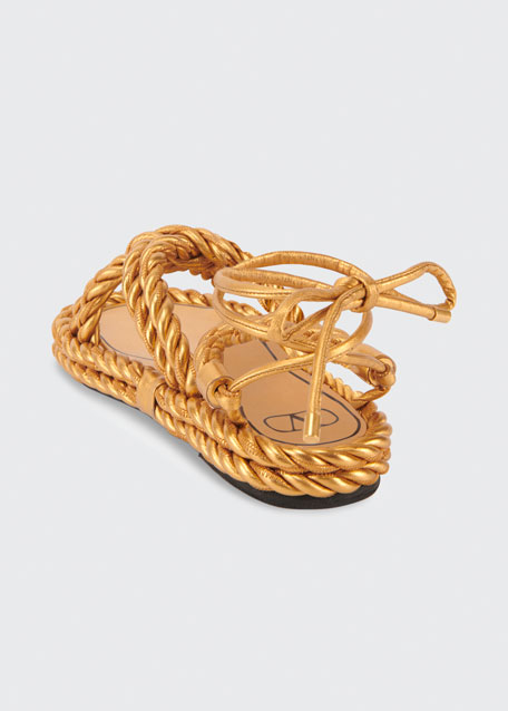 The Rope Crisscross Flat Ankle-Wrap Sandals