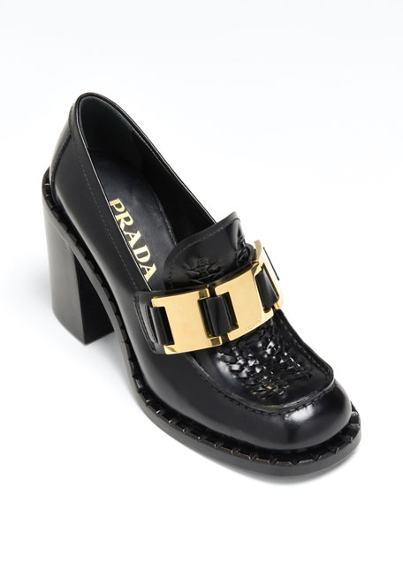 85mm Topstitch Leather Buckle Loafers