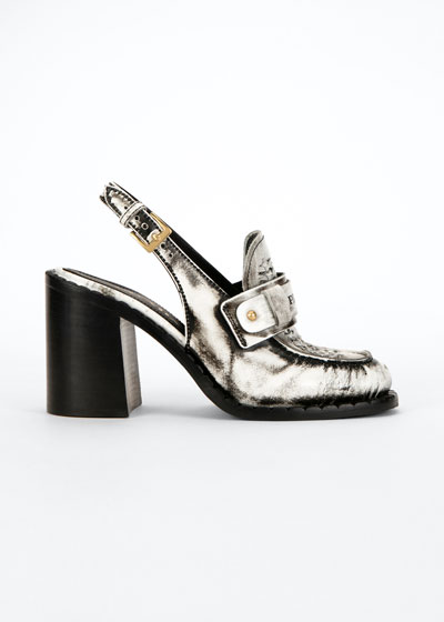 85mm Metallic Logo Slingback Pumps