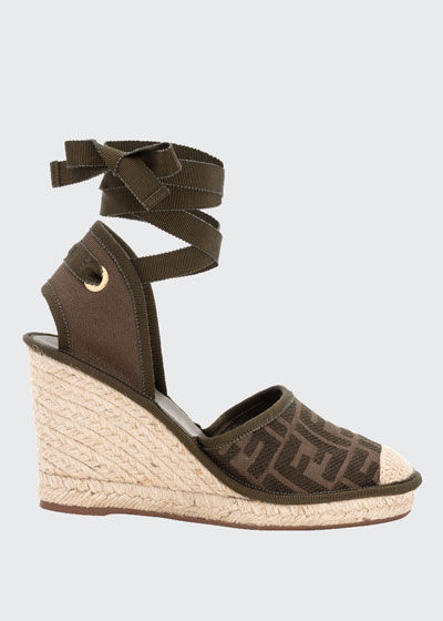 FF Logo Ankle-Wrap Wedge Espadrilles