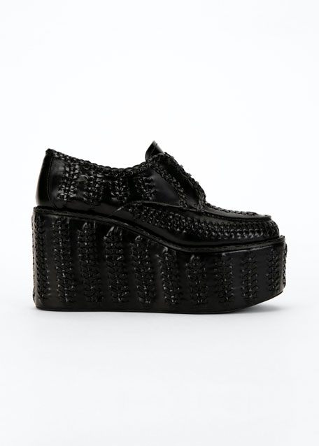 Woven Leather Lace-Up Platform Loafers