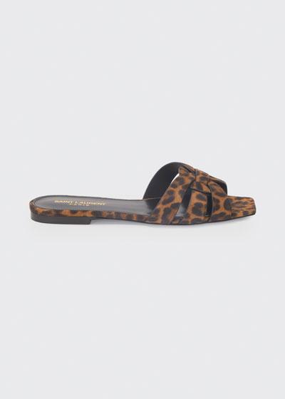 Nu Pieds Flat Leopard Slide Sandals