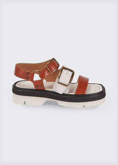 Animal-Print Buckle Flatform Sandals