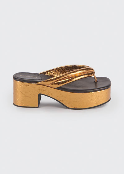 20mm Metallic Platform Thong Sandals