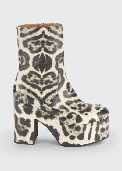 65mm Animal-Print Platform Booties