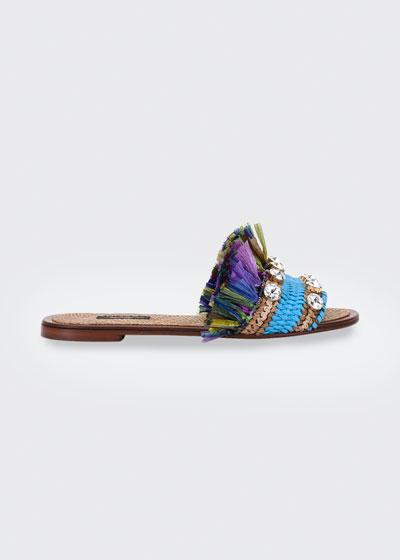 Jewel And Raffia Flat Slide Sandals