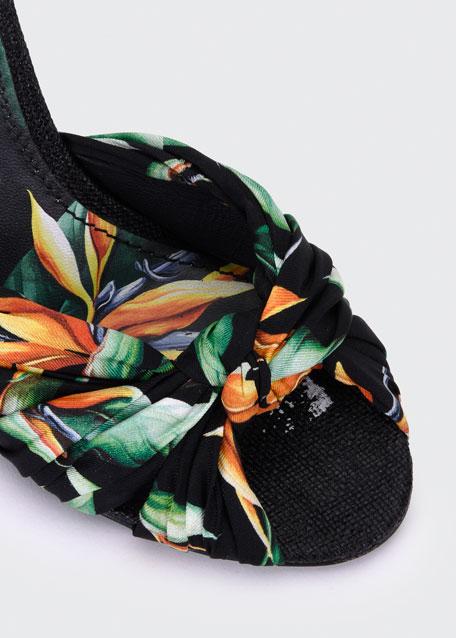 Flower Silk Twill Tie Up Sandals