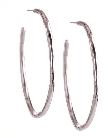 Silver Squiggle Hoop Earrings, Small