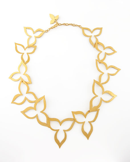 Hammered Gold Flower Necklace