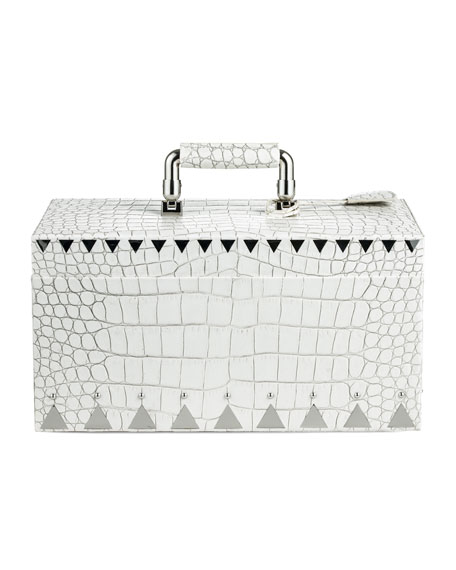Crocodile-Embossed Jewelry Box, White