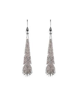 Silvertone Pave Plume Earrings