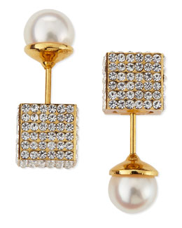 Pave Crystal Cube & Pearl Earrings