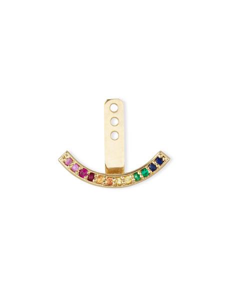 14k Rainbow Crescent Single Earring Jacket