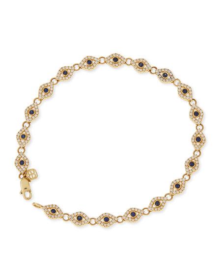 14k Evil Eye Diamond & Sapphire Link Bracelet