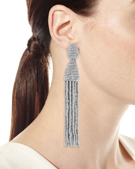 Beaded Long Tassel Clip Earrings