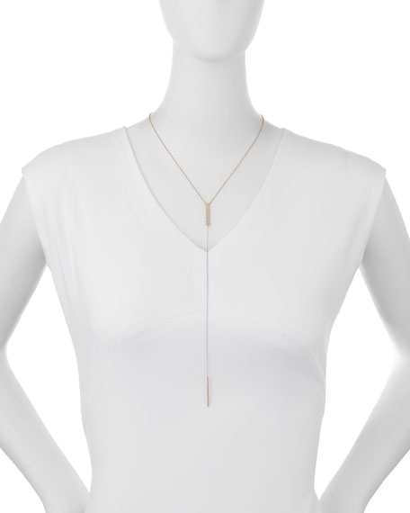Jumbo Bar Diamond Lariat Necklace, Rose Gold