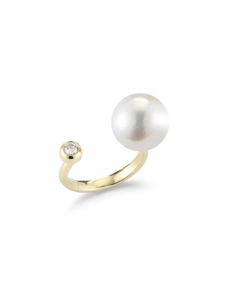 Mizuki Diamond & Pearl Split-Band Ring
