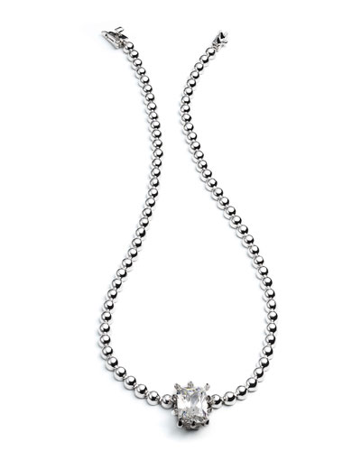 Silvertone Estate Dome Necklace