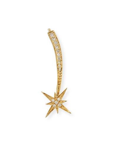 14K Gold Shooting Star Diamond Ear Climber