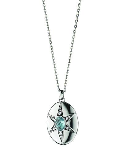 Blue Topaz & White Sapphire Locket Necklace, 32