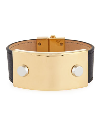Studded Metal & Leather Cuff Bracelet, Black