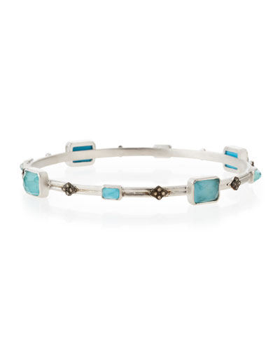 New World Turquoise Doublet & Diamond Cravelli Cross Bangle