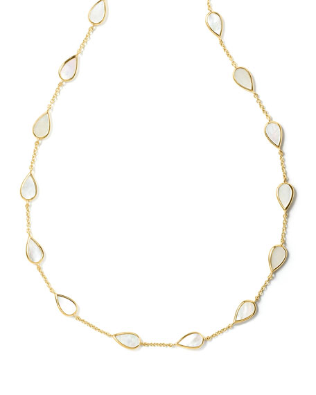 18K Polished Rock Candy Small Mother-of-Pearl Pear-Station Necklace