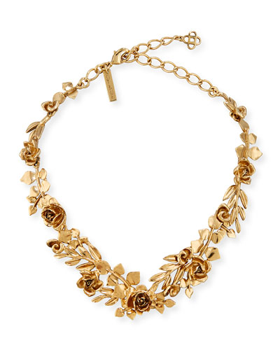 Golden Rose & Leaf Vine Necklace