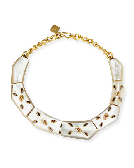 Ashley Pittman Malkia Light Horn & Crystal Collar
