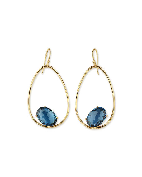 Ippolita 18K Rock Candy Tipped Oval Wire Earrings in London Blue Topaz vNUWYYvhW