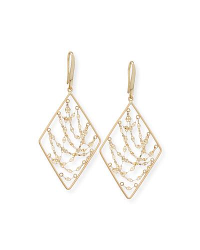 Small Diamond Shape Glimmer Chain Earrings