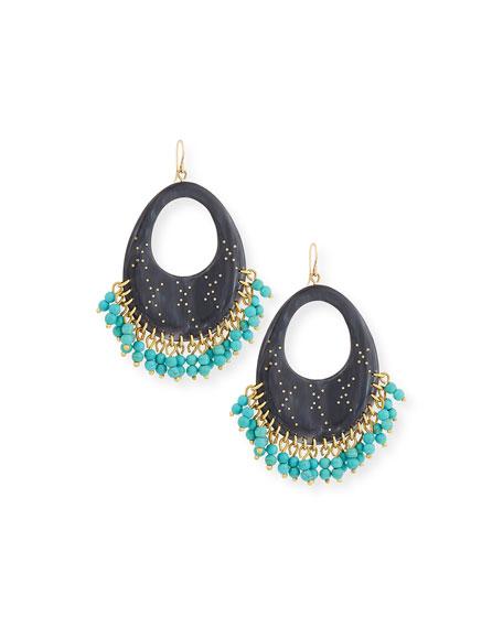 Vuka Beaded Dark Horn Earrings