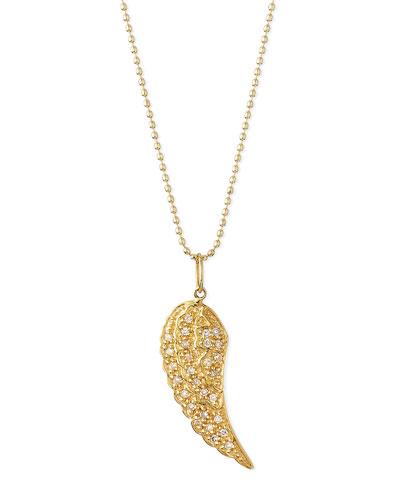 14k Gold Diamond Wing Pendant Necklace