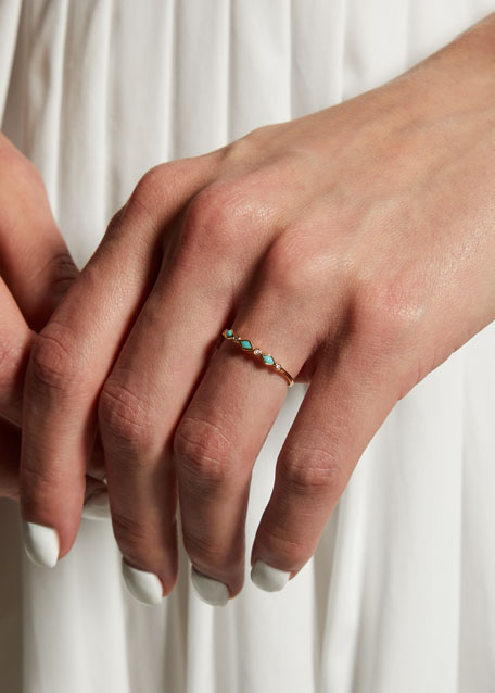 Turquoise Bezel & Diamond Stacking Ring