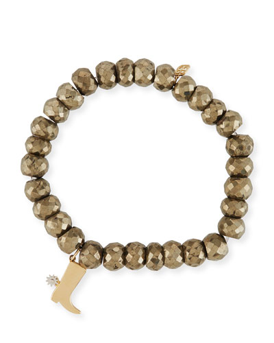 8mm Pyrite Beaded Bracelet w/ 14k Cowboy Boot Charm