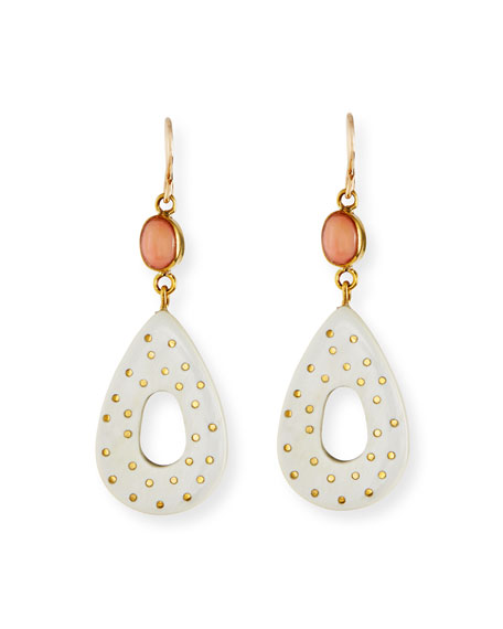 Bendi Light Horn & Coral Teardrop Earrings