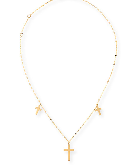 Triple Cross Necklace in 14K Gold