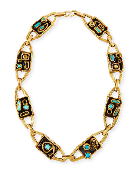 Funky Web Necklace with Turquoise