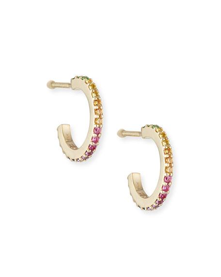 Girls' Rainbow Sapphire Huggie Hoop Earrings